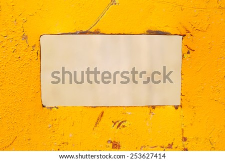 Colored yellow sheet of iron. Industrial abstract background. - stock photo