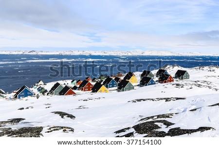 Colorfuk suburb of Nuuk - the capital of Greenland - stock photo