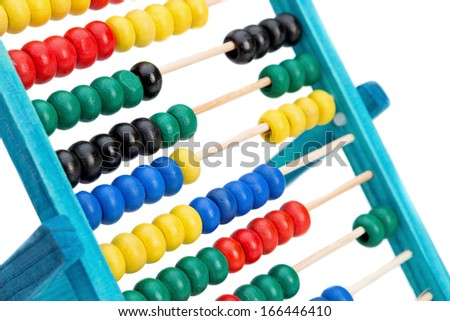 Colorful abacus for doing calculations. On a white background close-up. - stock photo