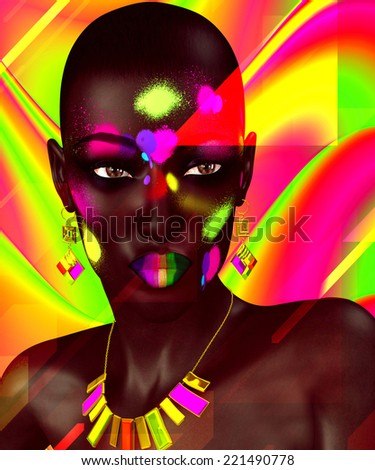 Colorful abstract background adds pop to this beautiful black woman.  Her matching colorful make up and jewelry complete this stunning fashion look.   - stock photo