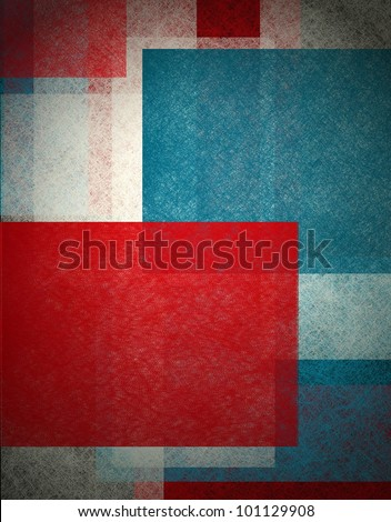 colorful abstract background in red white and blue, patriotic background for elections  or July 4th background with white old paper vintage grunge background texture,  black edge design on frame - stock photo