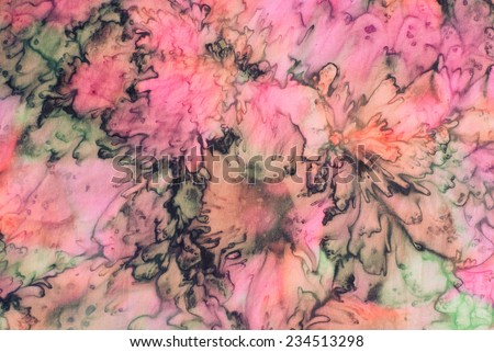 colorful abstract background tie dye techniqe on silk fabric  - stock photo