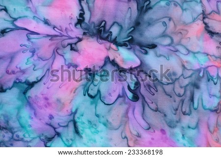 colorful abstract background, tie dye technique on silk fabric. - stock photo