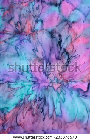 colorful abstract background tie dye technique on silk fabric. - stock photo
