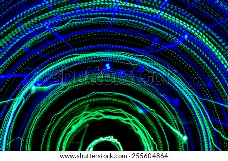 Colorful abstract background, using motion blur from tunnel light