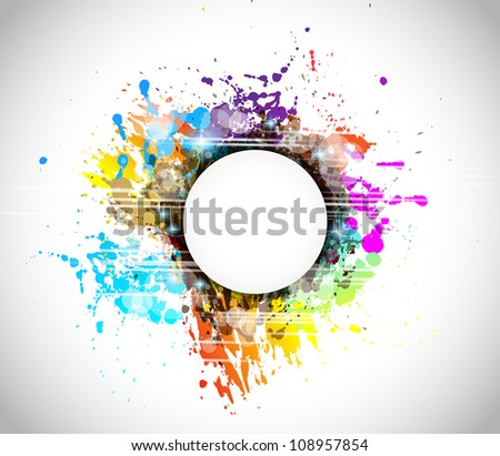 Colorful abstract background with rainbow colors and a white circular shape for your text