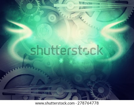 Colorful abstract background with watchwork, glowing lines and waves