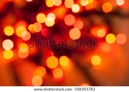 Colorful abstract bokeh of Christmas garlands, lights for background