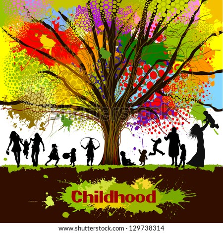 Colorful abstract childhood. Raster - stock photo