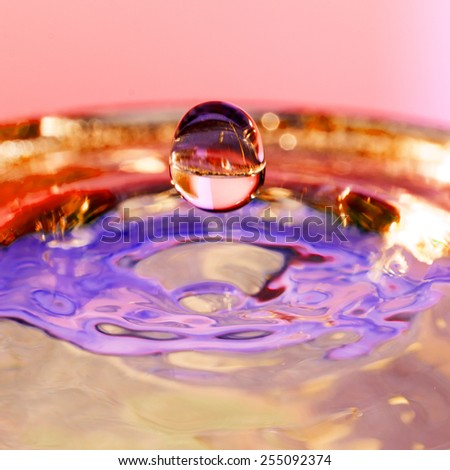 Colorful, abstract composition with water and water drops - stock photo