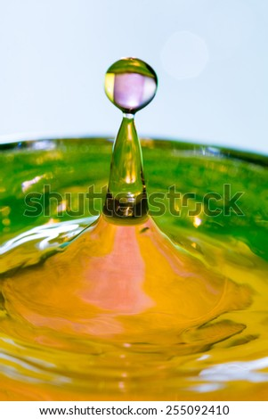 Colorful, abstract composition with water and water drops
