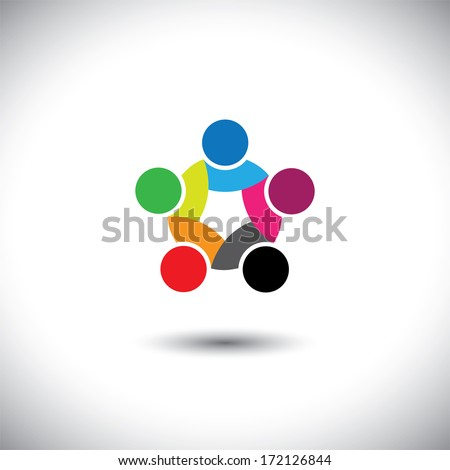 Colorful abstract concept illustration of people unity, solidarity. This graphic illustration can also represent employee meetings, kids playing, children together, close friendship & trust, loyalty - stock photo