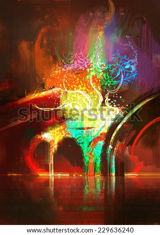 colorful abstract digital painting - stock photo