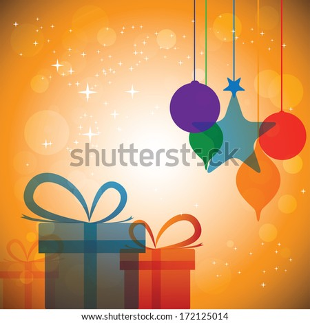 Colorful abstract festive celebrations with gift boxes & baubles - illustration. The concept graphic can represent festivals like christmas or xmas, new year, birthday & wedding events, etc