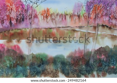 Colorful abstract forest ; Original watercolor painting - stock photo
