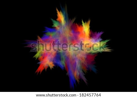 Colorful abstract fractal on a pure black background - stock photo