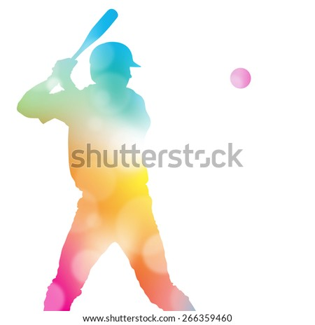 Colorful abstract illustration of a Baseball Player hitting a Home Run through a haze of summer blurs. - stock photo