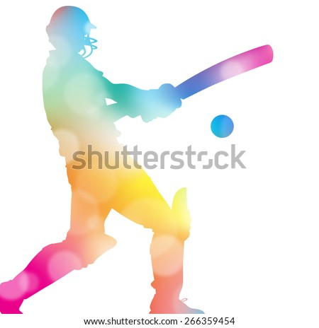 Colorful abstract illustration of a Cricket Player hitting a Six through a haze of summer blurs. - stock photo