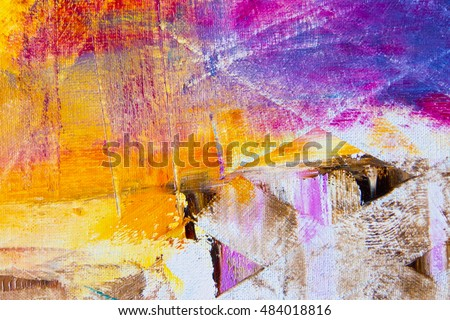 Colorful Abstract Oil Painting Background On Canvas Texture Palette Knife Paint