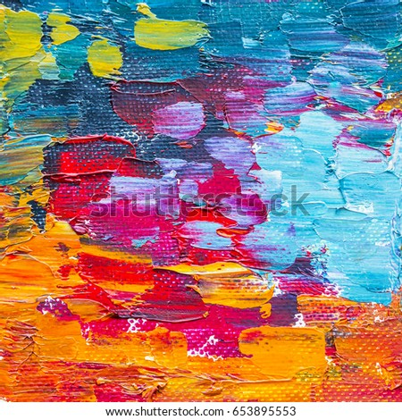 Colorful Abstract Oil Painting Texture Background Palette Knife Red Orange Blue