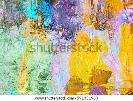 Colorful Abstract Oil Painting Texture Background Palette Knife Thick Brush Strokes