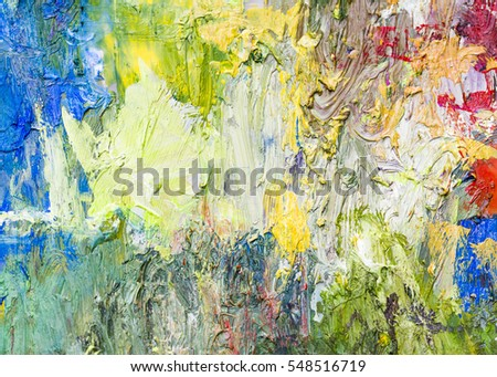 Colorful Abstract Oil Painting Texture Background Palette Knife Thick Brush Strokes Multi Color
