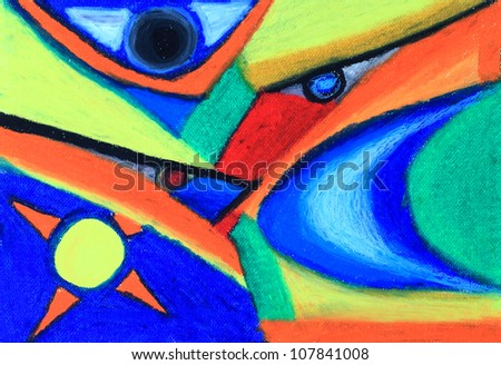 Colorful abstract oil pastel hand drawing. - stock photo