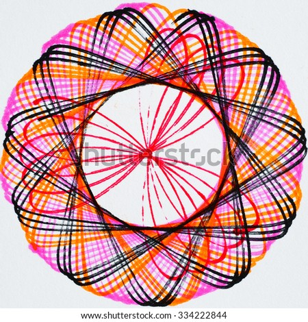 Colorful abstract pattern from pen drawing. - stock photo