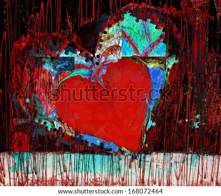 Colorful Abstract Red Heart Painting for Valentine's Day - stock photo