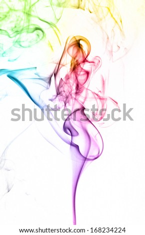 Colorful abstract smoke on white background