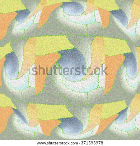 COLORFUL ABSTRACT SYMMETRIC MOSAIC PATTERN. Realized in tints of yellow, orange and grey colors. Print design. For textile fabrics, wallpapers, background, warping and packaging paper, backdrops      - stock photo