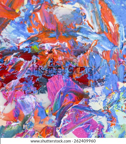 Colorful Abstract Thick Oil Paint Brush Strokespalette Knife Textures On Canvas Paper