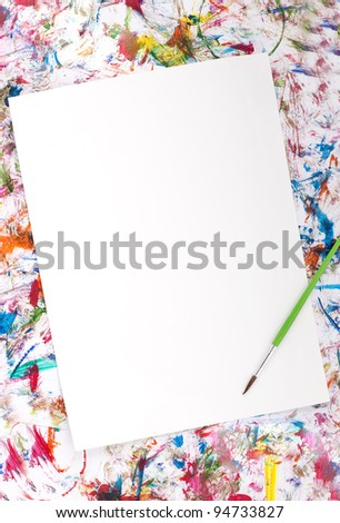 Colorful abstract watercolor background splash with a blank paper - stock photo