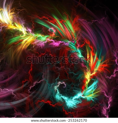 colorful abstract  waves space background - stock photo