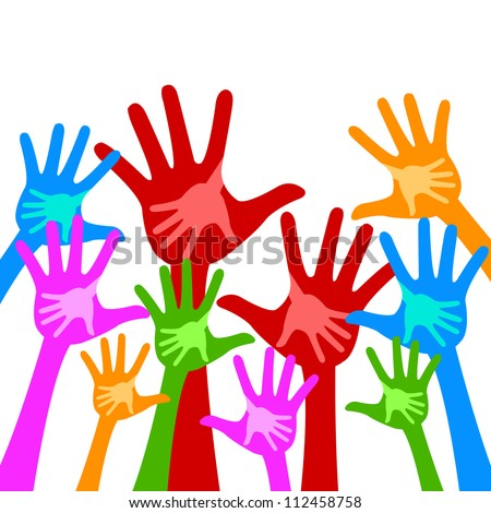Colorful Adult Raised Hands With Children Hand Inside Isolate on White Background For Volunteer and Voting Concept - stock photo