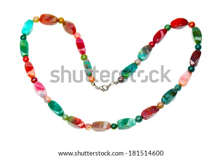 Colorful agate beads isolated on white background - stock photo