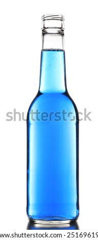 Colorful alcoholic beverage in glass bottle isolated on white - stock photo