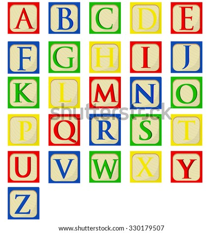 Colorful alphabet baby blocks raster set, building blocks, latin alphabet font