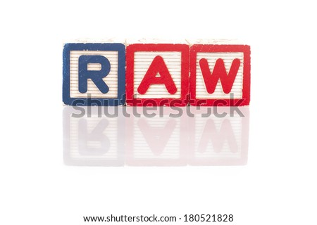 Colorful alphabet blocks of raw word with reflection.