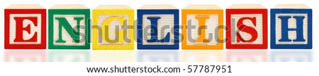 Colorful alphabet blocks spelling English on white