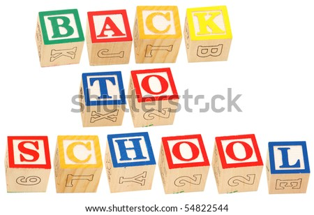 Colorful alphabet blocks spelling the words Back To School.
