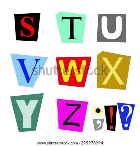colorful alphabet cut out from magazine letters S to Z in high resolution - stock photo
