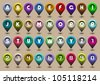 Colorful alphabet letters and numbers in the form of GPS icons. Raster version - stock photo