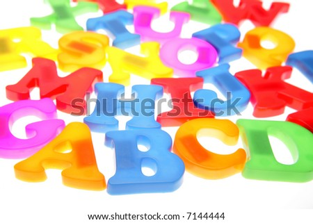 Colorful alphabet letters over white