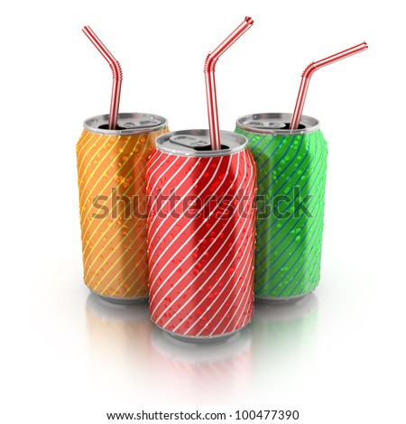 colorful aluminum cans with straws on white background - stock photo