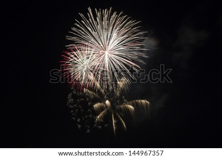 Colorful and Artistic Fireworks Display over Big Bear Lake California July 4, 2013