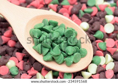 Colorful and flavored chocolate chip for Holiday baking - stock photo