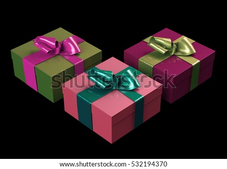 Colorful and striped boxes with gifts tied bows on black background. Happy new year 3d illustration.