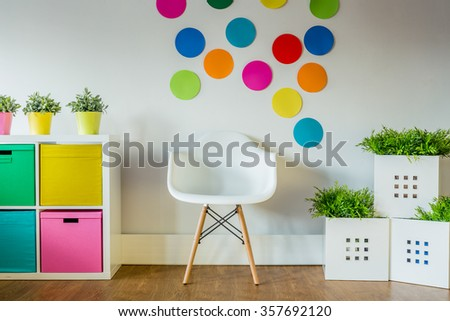Colorful and stylish decorations in the child's room  - stock photo