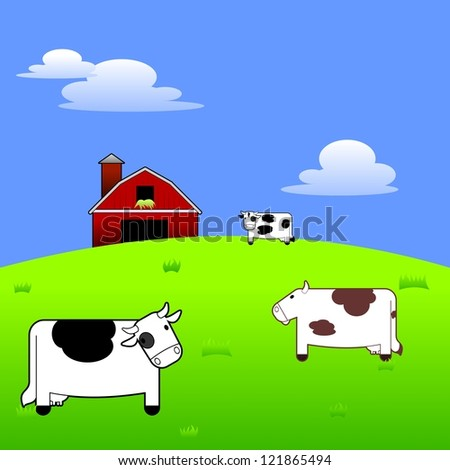 Colorful and vibrant illustration of three cartoon cows standing in a field with a barn and silo in the background.